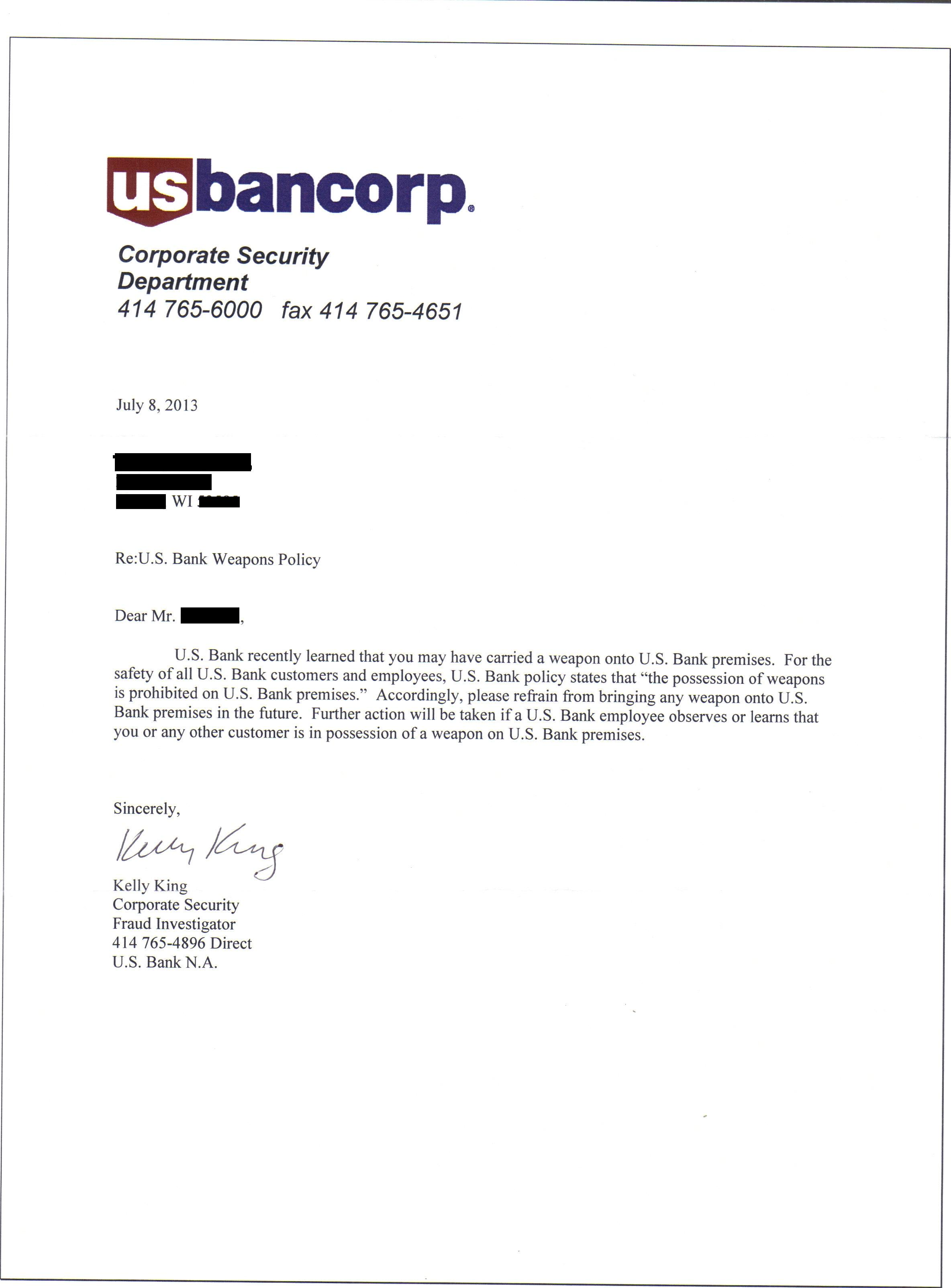 ... US Bank learned that you MAY HAVE carried a weapon on to US Bank